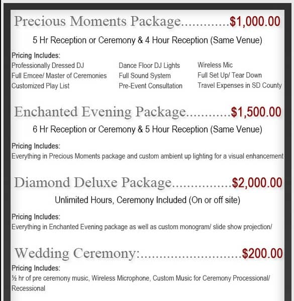Average San Diego Wedding Dj Prices 900 1500 San Diego Dj