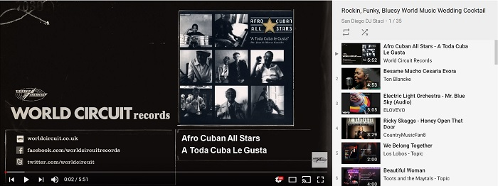 Rockin Funky Bluesy World Music Wedding Cocktail Hour Playlist Video