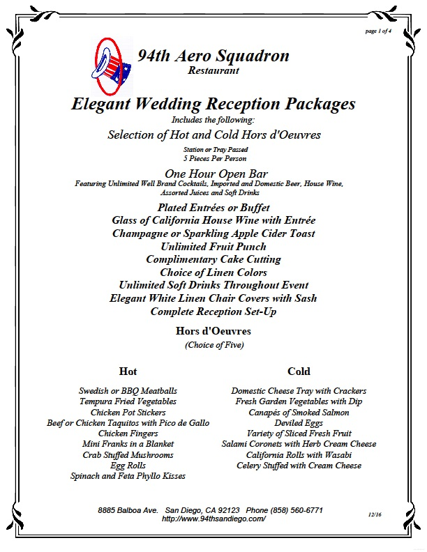 SAN DIEGO WEDDING VENUE PRICE LIST #1 U2013 94th AEROSQUADRON RESTAURANT