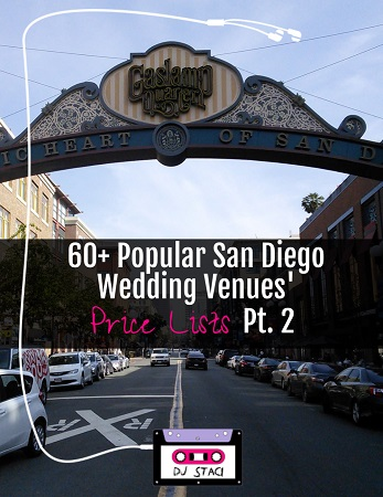 Popular San Diego Wedding Venue Price Lists 2